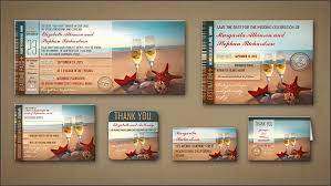 Read More Romantic Beach Wedding Invitations Boarding Pass Tickets