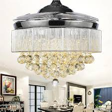 2018 high quality 52 led ceiling fan modern crystal ceiling fans chandelier retractable blades chrome finished pendant lamp with remote from ok360