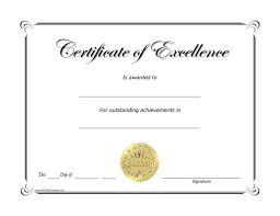 Certificates Printable Excellence Award Certificate Free Printable