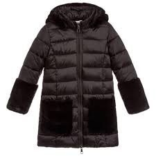 Designer Puffer Coat With Fur Hood Girls Black Puffer Coat For Girl By Ido Junior Discover