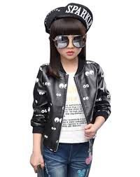 mnlybaby little girls fashion spring autumn motorcycle pu leather jacket gh39723 clothing