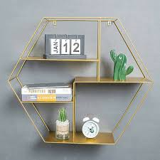 details about cube wall shelf hexagonal shaped gold metal frame storage shelving display unit