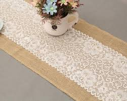 burlap white lace hessian table runner natural jute for wedding decration family tablerunner whole table linen whole table linens from kyouny