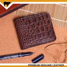 dompet kulit asli pria croco pattern bifold wallet original leather