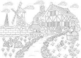 農村風景のぬりえ農場の家風車井戸メール ボックスウサギでのキツツキ鳥フリーハンド スケッチ