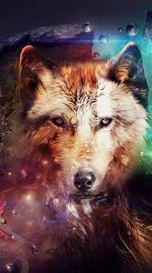 Abstract design, wolf, collage, space ...