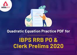 quadratic equation practice pdf for