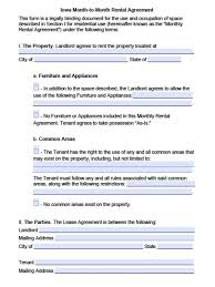Lease Rent Agreement Format Stunning Commercial Lease Agreement Template Sarahepps Com Iowa Month To R
