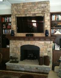 Comely Home Interior With Stone Around Fireplace : Archaic Design Ideas  Using Black Iron Frames And ...