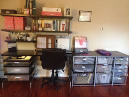 organized office space. great use of elfa in this office space organized