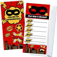 superheroes birthday party invitations amazon com superhero kids birthday party invitations 12 count with