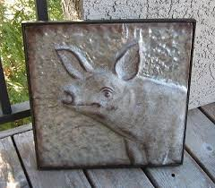 embossed galvanized metal pig wall art primitive french country farmhouse decor on metal pig wall art with embossed galvanized metal pig wall art primitive french country