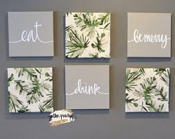 chic botanical wall decor eat drink be merry wall art set canvas wall hanging large dining room wall art beach house gray beige green leaves on food and drink canvas wall art with dining room wall art etsy