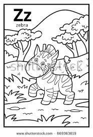 coloring book for children colorless alphabet letter z zebra