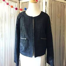 hello kitty jacket black blazer zipper front gold metallic long sleeves size womens leather with