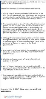 truman s speech to congress son com question truman s speech to congress son 12 1947 now known as the truman doctrine answer