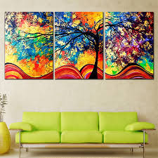 Living Room Oil Paintings 3 Pieces Oil Painting Red Tree Posters And Prints Cuadros