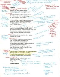 how to and interpret a poem poem seamus heaney and school diggingannotated0001