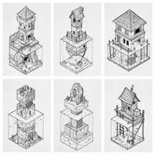 i really enjo drawing these isometric houses and buildings that are partially submerged all drawn with copic multiliner sp pens