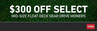 300 off select midsize floatdeck gear walk mowers