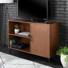 pecan mid century modern simple media tv stand storage console with drawer and shelving