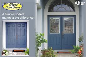 front double doorsWe can add glass to your existing metal doors  The Glass Door Store