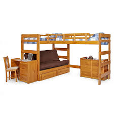 Woodcrest Heartland Futon Bunk Bed with Extra Loft - Honey Pine | Hayneedle