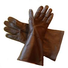com leather gauntlet gloves dark brown large long arm cuff sports outdoors