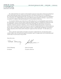 Letter Of Support For National Monument To Reconstruction