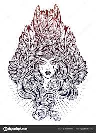 магия женщина ангел крыльями длинные волосы алхимия тату искусства