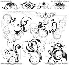 Clipart Picture Illustration of a Collection Of Black And White ...