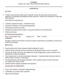 22 Free Carpenter Resume Samples Sample Resumes