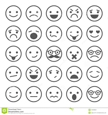 Set Of Smiley Icons Different Emotions Stock Vector Illustration