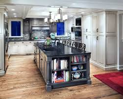 Kitchen Island Design Ideas beautiful gray kitchen island design with shelves on the end for books and ceramic