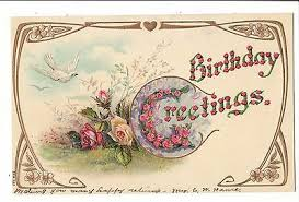 Postcards For Birthday Vintage Postcard Birthday Greetings Embossed Roses Dove Rosebud Gold Details Ebay