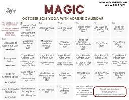 October 2018 Ywa Yoga Calendar Yoga With Adriene