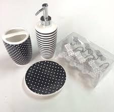 Black Bathroom Accessories Bathroom Accessories Set Black White Striped Dot Soap Lotion