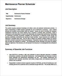 maintenance scheduler job description material planner job description