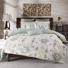 com ink ivy nia global inspired print cotton 88x92 full queen duvet cover mini set seafoam yellow taupe on closure inside ties to secure