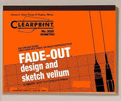 Bond Pad With Printed Fade Out 30 Degree Isometric Grid 30 Sheet Graph Paper New