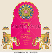 indian wedding card stock images, royalty free images & vectors Vector Hindu Wedding Cards indian wedding invitation card templates with gold elephant patterned and crystals on paper color hindu wedding cards vector free download