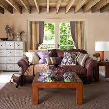 Country Style Decorating  Brown Leather Couch Living Room Living Country Style Living