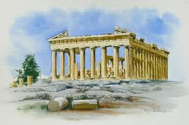 watercolor painting of parthenon athens greece
