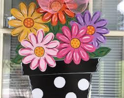 Front door decor, Spring door hanger, spring decorations, flower bouquet  door hanger,