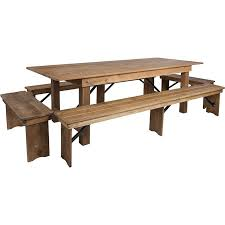 hercules series 8 x 40 antique rustic folding farm table and four bench set
