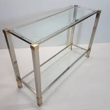 silver plated gilt aluminum console table with cut glass by pierre vandel