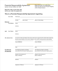 parenting certificate templates parenting agreement templates 8 free pdf documents download