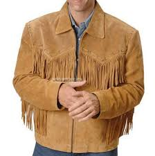 simple western leather jacket brown with fringes