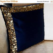 Navy Blue And Gold Decorative Pillows
