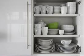 how to stack dishes in a cabinet